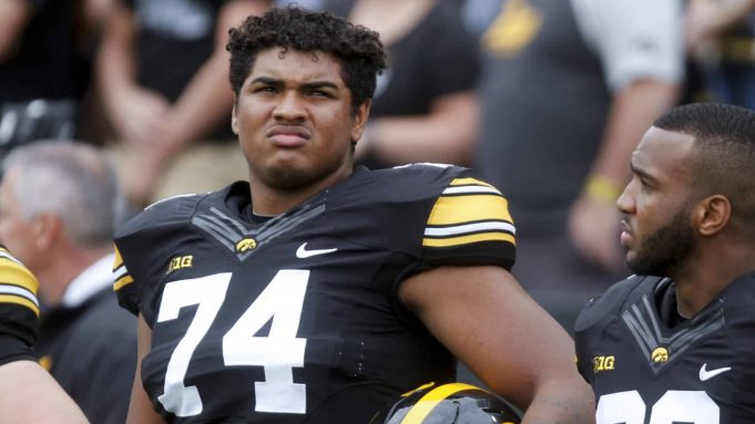 IOWA CITY, IOWA- SEPTEMBER 2: Offensive lineman Tristan Wirfs #74 of the Iowa Hawkeyes before the match-up against the Wyoming Cowboys, on September 2, 2017 at Kinnick Stadium in Iowa City, Iowa.