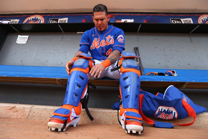 PORT ST. LUCIE, FL - MARCH 08: Catcher Wilson Ramos #40 of the New York Mets puts on his gear before a spring training baseball game against the Houston Astros at Clover Park on March 8, 2020 in Port St. Lucie, Florida. The Mets defeated the Astros 3-1.