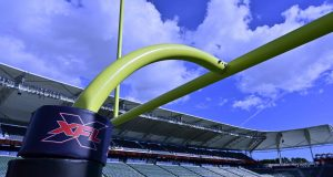 CARSON, CA - MARCH 08: Goal post with XFL logo seen at Dignity Health Sports Park before the XFL game between the Los Angeles Wildcats and the Tampa Bay Vipers on March 8, 2020 in Carson, California.