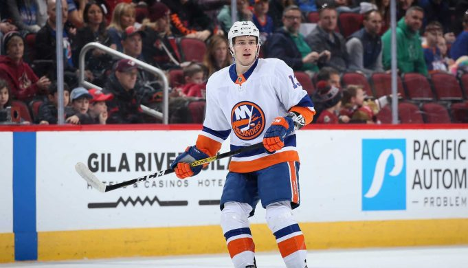 GLENDALE, ARIZONA - FEBRUARY 17: Mathew Barzal #13 of the New York Islanders during the second period of the NHL game against the Arizona Coyotes at Gila River Arena on February 17, 2020 in Glendale, Arizona.