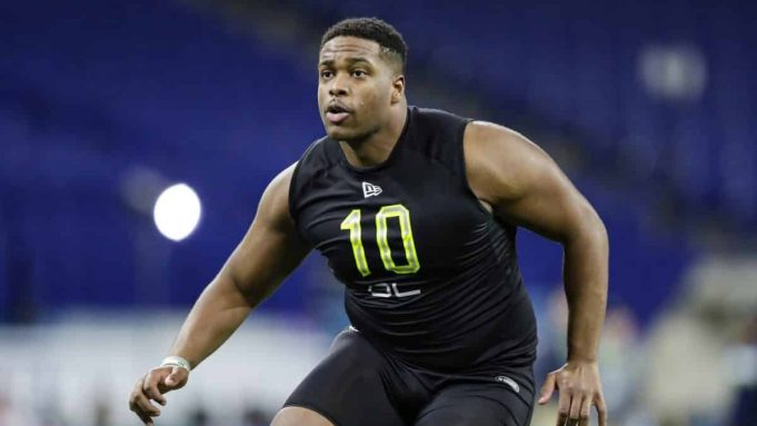 New York Jets' offensive lineman Cam Clark at the 2020 NFL Scouting Combine