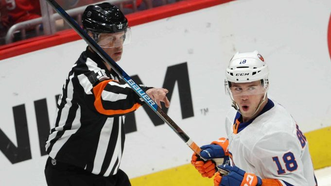 WASHINGTON, DC - FEBRUARY 10: Anthony Beauvillier #18 of the New York Islanders celebrates his second goal during the first period against the Washington Capitals at Capital One Arena on February 10, 2020 in Washington, DC.