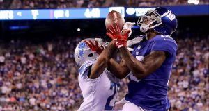 EAST RUTHERFORD, NJ - SEPTEMBER 18: Darius Slay #23 of the Detroit Lions breaks up the pass intended for Brandon Marshall #15 of the New York Giants on September 18, 2017 at MetLife Stadium in East Rutherford, New Jersey.