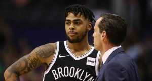 PHOENIX, AZ - NOVEMBER 06: D'Angelo Russell #1 and head coach Kenny Atkinson of the Brooklyn Nets during the NBA game against the Phoenix Suns at Talking Stick Resort Arena on November 6, 2017 in Phoenix, Arizona. The Nets defeated the Suns 98-92. NOTE TO USER: User expressly acknowledges and agrees that, by downloading and or using this photograph, User is consenting to the terms and conditions of the Getty Images License Agreement.