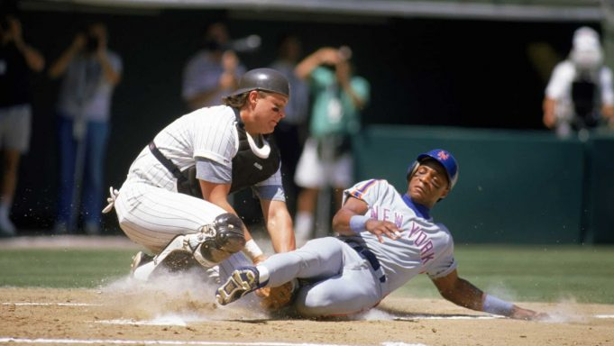 1989: Darryl Strawberry of the New York Mets slides into home during a game in the 1989 season against the San Diego Padres.
