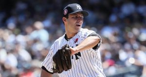NEW YORK, NEW YORK - MAY 27: David Hale #75 of the New York Yankees pitches against the San Diego Padres during their game at Yankee Stadium on May 27, 2019 in New York City.