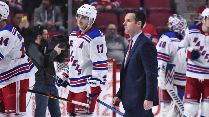 MONTREAL, QC - FEBRUARY 27: Head coach of the New York Rangers David Quinn walks across the rink after a victory against the Montreal Canadiens at the Bell Centre on February 27, 2020 in Montreal, Canada. The New York Rangers defeated the Montreal Canadiens 5-2.