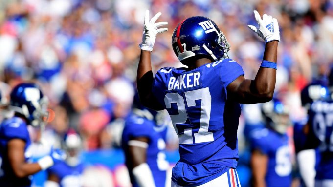 EAST RUTHERFORD, NEW JERSEY - SEPTEMBER 29: Deandre Baker #27 of the New York Giants reacts during their game against the Washington Redskins at MetLife Stadium on September 29, 2019 in East Rutherford, New Jersey.