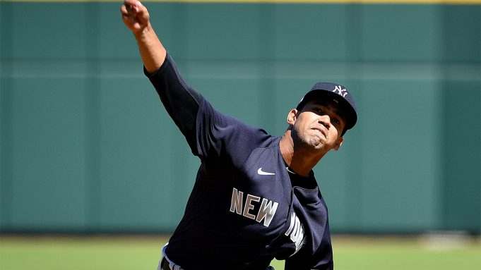VENICE, FLORIDA - FEBRUARY 28: Deivi Garcia #83 of the New York Yankees delivers a pitch in the first inning during the spring training game against the Atlanta Braves at Cool Today Park on February 28, 2020 in Venice, Florida.
