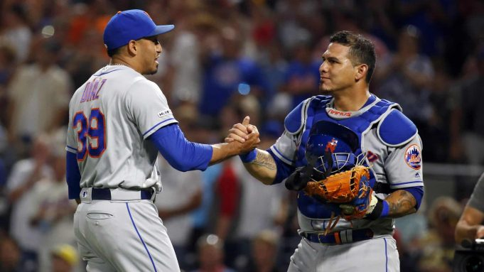 PITTSBURGH, PA - AUGUST 03: Edwin Diaz #39 of the New York Mets and Wilson Ramos #40 of the New York Mets celebrates after defeating the Pittsburgh Pirates at PNC Park on August 3, 2019 in Pittsburgh, Pennsylvania.