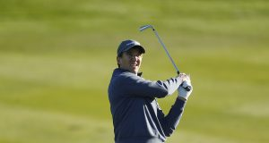 PEBBLE BEACH, CALIFORNIA - FEBRUARY 06: Former NFL player Eli Manning plays a shot on the second hole during the during the first round of the AT&T Pebble Beach Pro-Am at Spyglass Hill Golf Course on February 06, 2020 in Pebble Beach, California.