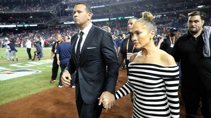 WASHINGTON, DC - JULY 17: Alex Rodriguez and Jennifer Lopez attend the 89th MLB All-Star Game, presented by Mastercard at Nationals Park on July 17, 2018 in Washington, DC.