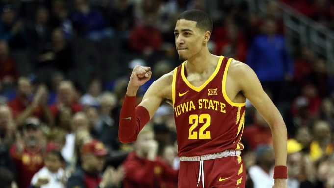 KANSAS CITY, MISSOURI - MARCH 14: Tyrese Haliburton #22 of the Iowa State Cyclones celebrates during the quarterfinal game of the Big 12 Basketball Tournament against the Baylor Bears at Sprint Center on March 14, 2019 in Kansas City, Missouri.