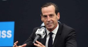 NEW YORK, NEW YORK - SEPTEMBER 27: Head coach Kenny Atkinson speaks to media during Brooklyn Nets Media Day at HSS Training Center on September 27, 2019 in the Brooklyn Borough of New York City. NOTE TO USER: User expressly acknowledges and agrees that, by downloading and or using this photograph, User is consenting to the terms and conditions of the Getty Images License Agreement.