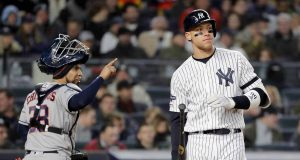 NEW YORK, NEW YORK - OCTOBER 18: Aaron Judge #99 of the New York Yankees reacts after being struck out by Justin Verlander #35 of the Houston Astros during the fifth inning in game five of the American League Championship Series at Yankee Stadium on October 18, 2019 in New York City.
