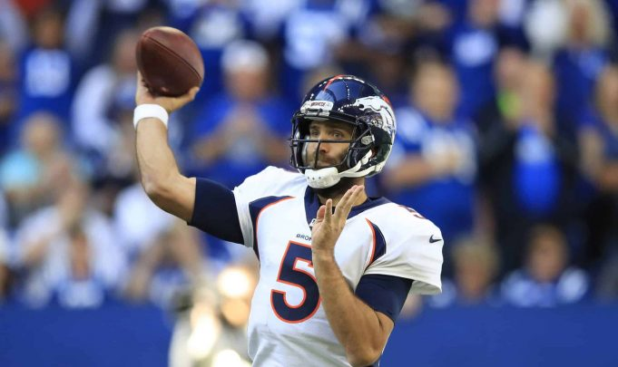 INDIANAPOLIS, INDIANA - OCTOBER 27: Joe Flacco #5 of the Denver Broncos throws a pass against the Indianapolis Colts at Lucas Oil Stadium on October 27, 2019 in Indianapolis, Indiana. New York Jets