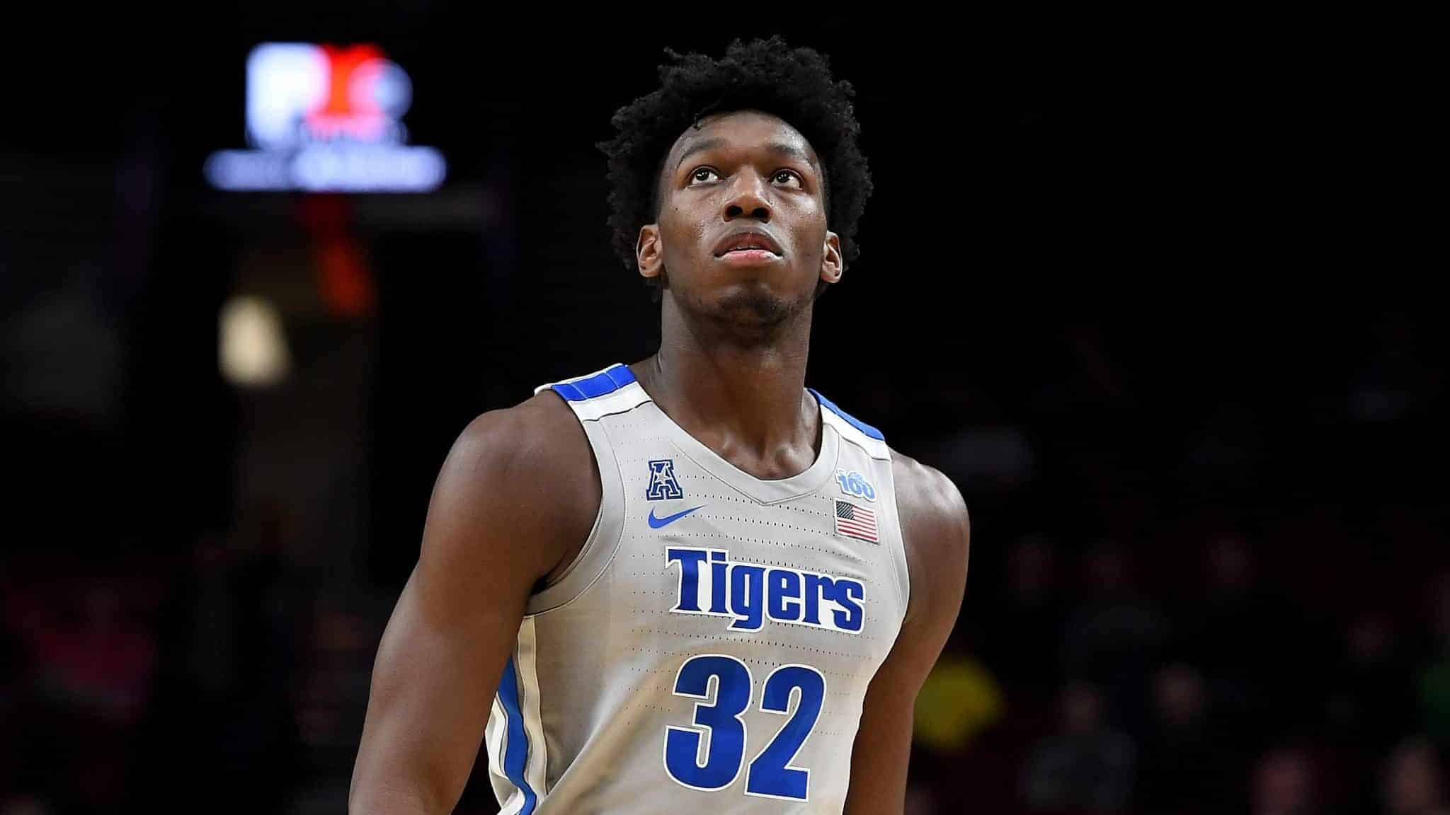 PORTLAND, OREGON - NOVEMBER 12: James Wiseman #32 of the Memphis Tigers walks up court during the first half of the game against the Oregon Ducks between the Oregon Ducks and Memphis Grizzlies at Moda Center on November 12, 2019 in Portland, Oregon.