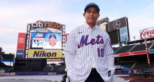 NEW YORK, NY - JANUARY 24: Luis Rojas, the new manager of the New York Mets poses for photos after his introductory press conference at Citi Field on January 24, 2020 in New York City. Rojas had been the Mets quality control coach and was tapped as a replacement after the newly hired Carlos Beltrán was implicated for his role as a player in 2017 in the Houston Astros sign-stealing scandal.