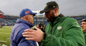 ORCHARD PARK, NEW YORK - DECEMBER 29: Head Coach Sean McDermott of the Buffalo Bills and head coach Adam Gase of the New York Jets embrace after an NFL game at New Era Field on December 29, 2019 in Orchard Park, New York.