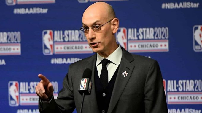 CHICAGO, ILLINOIS - FEBRUARY 15: NBA Commissioner Adam Silver speaks to the media during a press conference at the United Center on February 15, 2020 in Chicago, Illinois.