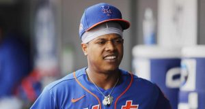JUPITER, FLORIDA - FEBRUARY 22: Marcus Stroman #0 of the New York Mets reacts against the St. Louis Cardinals during a Grapefruit League spring training game at Roger Dean Stadium on February 22, 2020 in Jupiter, Florida.