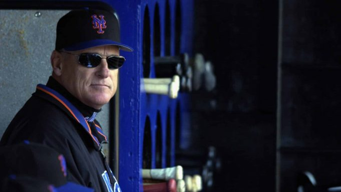 FLUSHING, NY - APRIL 6: Manager Art Howe of the New York Mets looks out from the dugout during the game against the Monteal Expos at Shea Stadium on April 6, 2003 in Flushing, New York. The Expos won 8-5.