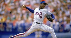 1988: Dwight Gooden of the New York Mets pitches during a game in the 1988 season.