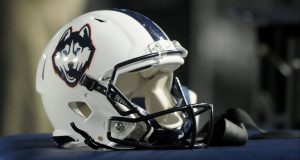 PROVO, UT - OCTOBER 2: View of a Connecticut Huskies helmet during the game between the Huskies and the Brigham Young Cougars at LaVell Edwards Stadium on October 2, 2015 in Provo Utah.
