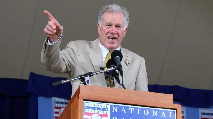 COOPERSTOWN, NY - JULY 26: Former major league player and NBC television broadcaster Tony Kubek (2nd L) accepts the 2009 Ford C. Frick Award presented for excellence in baseball broadcasting at Clark Sports Center during the Baseball Hall of Fame induction ceremony on July 26, 2009 in Cooperstown, New York.