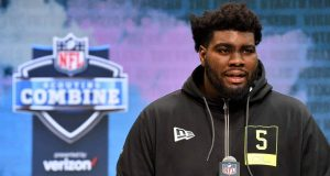 INDIANAPOLIS, INDIANA - FEBRUARY 26: Mekhi Becton #OL05 of Louisville interviews during the second day of the 2020 NFL Scouting Combine at Lucas Oil Stadium on February 26, 2020 in Indianapolis, Indiana.