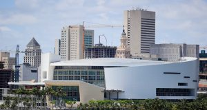 MIAMI, FLORIDA - MAY 08: A general view of the AmericanAirlines Arena is seen on May 08, 2020 in Miami Florida. According to reports the Miami Heat are looking to possibly reopen their facilities at the arena on May 11.