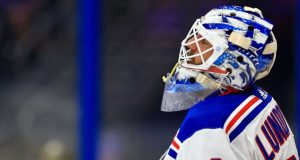 TAMPA, FLORIDA - NOVEMBER 14: Henrik Lundqvist #30 of the New York Rangers looks on during a game against the Tampa Bay Lightning at Amalie Arena on November 14, 2019 in Tampa, Florida.