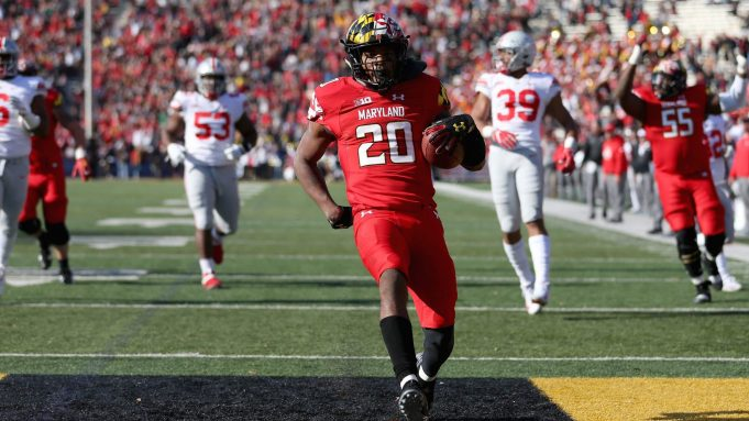 COLLEGE PARK, MD - NOVEMBER 17: Javon Leake #20 of the Maryland Terrapins scores a touchdown against the Ohio State Buckeyes during the first half at Capital One Field on November 17, 2018 in College Park, Maryland.