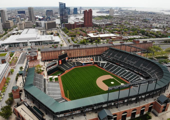 BALTIMORE, MD. - APRIL 29: An aerial view from a drone shows the Camden Yards baseball stadium on April 29, 2020 in Baltimore, Maryland. Baseball season has been put on hold due to states enacting stay-at-home orders and banning all non-essential travel to slow the spread of the coronavirus.