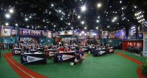 SECAUCUS, NJ - JUNE 5: Representatives from all 30 Major League Baseball teams fill Studio 42 during the MLB First-Year Player Draft at the MLB Network Studio on June 5, 2014 in Secacucus, New Jersey.