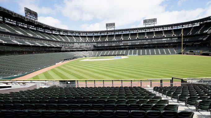 CHICAGO, ILLINOIS - MAY 08: A general view of Guaranteed Rate Feld, home of the Chicago White Sox, on May 08, 2020 in Chicago, Illinois. The 2020 Major League Baseball season is on hold due to the COVID-19 pandemic.