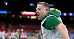 NEW ORLEANS, LOUISIANA - JANUARY 01: Head coach Matt Rhule of the Baylor Bears reacts to a play during the Allstate Sugar Bowl against the Georgia Bulldogs at Mercedes Benz Superdome on January 01, 2020 in New Orleans, Louisiana.