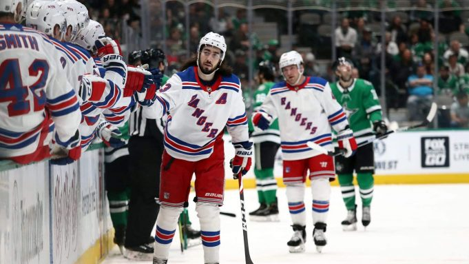 DALLAS, TEXAS - MARCH 10: Mika Zibanejad #93 of the New York Rangers celebrates his goal against the Dallas Stars during the first period at American Airlines Center on March 10, 2020 in Dallas, Texas.