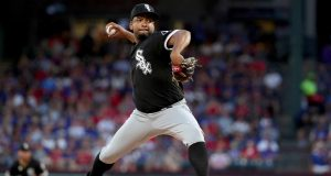 ARLINGTON, TEXAS - JUNE 22: Odrisamer Despaigne #25 of the Chicago White Sox pitches against the Texas Rangers in the bottom of the first inning at Globe Life Park in Arlington on June 22, 2019 in Arlington, Texas.