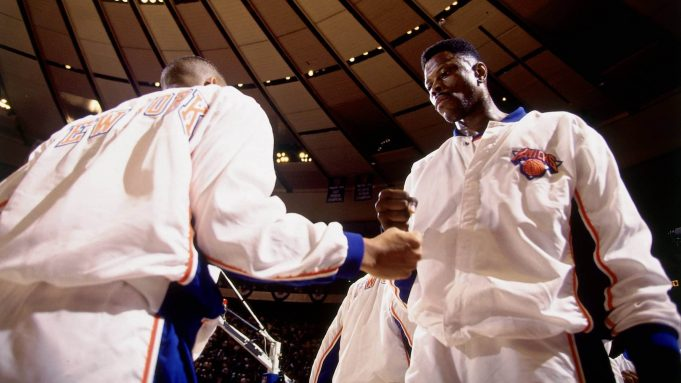 NEW YORK - JUNE 17: Patrick Ewing #33 of the New York Knicks pumps fist with a teammate prior to Game Five of the NBA Finals played on June 17, 1994 at Madison Square Garden in New York, New York. NOTE TO USER: User expressly acknowledges that, by downloading and or using this photograph, User is consenting to the terms and conditions of the Getty Images License agreement. Mandatory Copyright Notice: Copyright 1994 NBAE