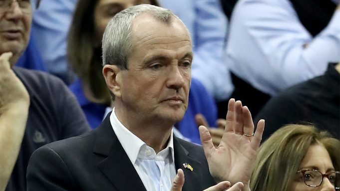 NEWARK, NJ - FEBRUARY 28: New Jersey governor Phil Murphy attends the game between the Seton Hall Pirates and the Villanova Wildcats on February 28, 2018 at Prudential Center in Newark, New Jersey.