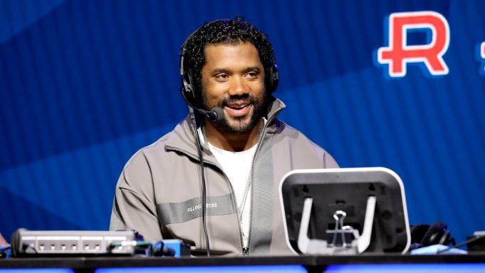 MIAMI, FLORIDA - JANUARY 30: NFL quarterback Russell Wilson of the Seattle Seahawks speaks onstage during day 2 of SiriusXM at Super Bowl LIV on January 30, 2020 in Miami, Florida.