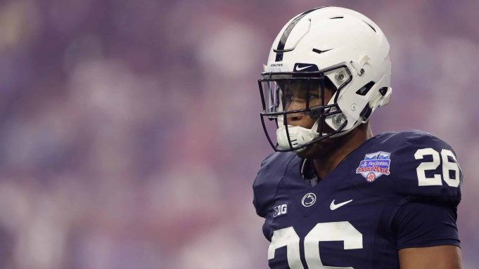 GLENDALE, AZ - DECEMBER 30: Running back Saquon Barkley #26 of the Penn State Nittany Lions walks on the field during the first half of the Playstation Fiesta Bowl against the Washington Huskies at University of Phoenix Stadium on December 30, 2017 in Glendale, Arizona.