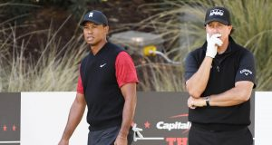 LAS VEGAS, NV - NOVEMBER 23: Tiger Woods and Phil Mickelson look on from the seventh tee during The Match: Tiger vs Phil at Shadow Creek Golf Course on November 23, 2018 in Las Vegas, Nevada.