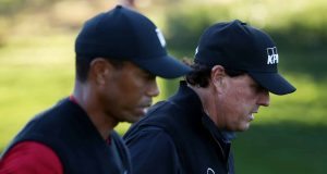 LAS VEGAS, NV - NOVEMBER 23: Tiger Woods and Phil Mickelson walk during The Match: Tiger vs Phil at Shadow Creek Golf Course on November 23, 2018 in Las Vegas, Nevada.