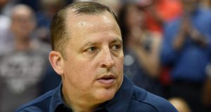 LAS VEGAS, NV - AUGUST 13: Assistant coach Tom Thibodeau of the 2015 USA Basketball Men's National Team watches his players warm up before a USA Basketball showcase at the Thomas & Mack Center on August 13, 2015 in Las Vegas, Nevada.