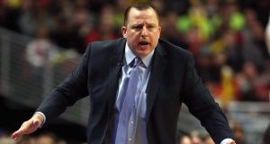 CHICAGO, IL - MARCH 01: Head coach Tom Thibodeau of the Chicago Bulls reacts to a call during a game against the los Angeles Wizards at the United Center on March 1, 2015 in Chicago, Illinois. The Clippers defeated the Bulls 96-86. NOTE TO USER: User expressly acknowledges and agrees that, by downloading and or using this photograph, User is consenting to the terms and conditions of the Getty Images License Agreement.