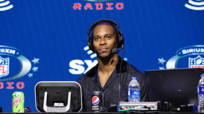 MIAMI, FLORIDA - JANUARY 29: Former NFL player Victor Cruz speaks onstage during day 1 with SiriusXM at Super Bowl LIV on January 29, 2020 in Miami, Florida.