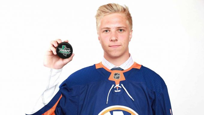 DALLAS, TX - JUNE 23: Blade Jenkins poses after being selected 134th overall by the New York Islanders during the 2018 NHL Draft at American Airlines Center on June 23, 2018 in Dallas, Texas.