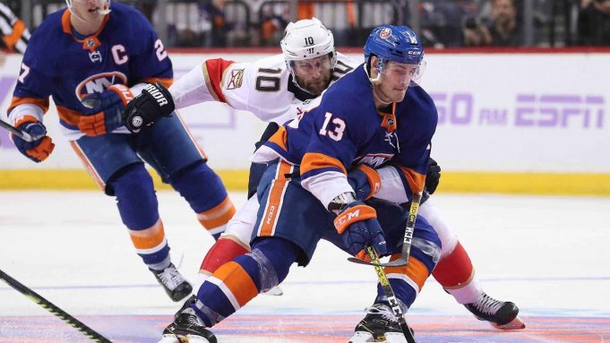 NEW YORK, NEW YORK - NOVEMBER 09: Mathew Barzal #13 of the New York Islanders in action against the Florida Panthers during their game at Barclays Center on November 09, 2019 in New York City.